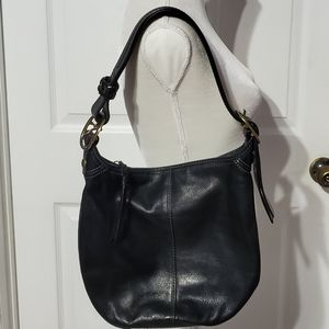 Coach Black Leather Shoulder Purse Bag